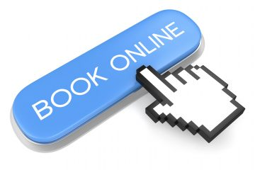 Internet booking service concept. Blue metallic button with text Book online and computer mouse hand cursor isolated on white background.  If You Have A Question About Pain: iStock 000039639260 Large